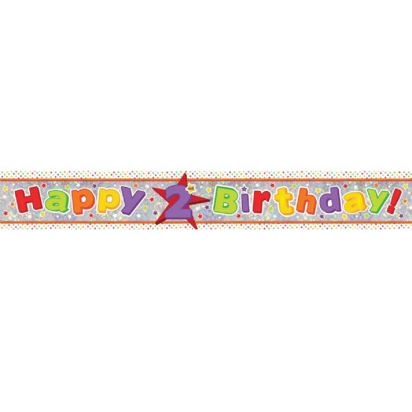 Holographic Happy 2nd Birthday Foil Banner